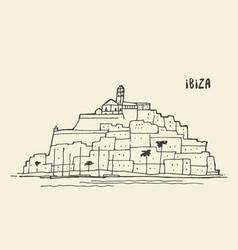 sketch of ibiza landscape vector image