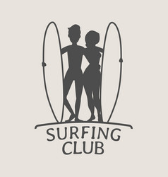 surfing club logo icon or symbol silhouette of vector image vector image