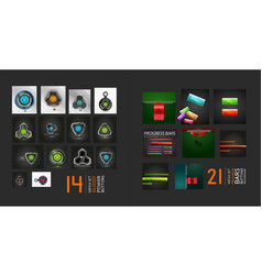 web buttons and progress bars set vector image