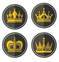 Yellow crown icons on color background vector image