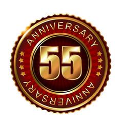 55 years anniversary golden label vector image vector image