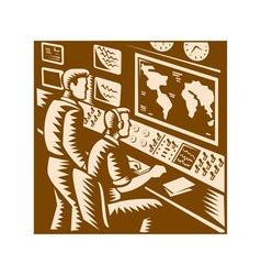 Control room command center headquarter woodcut vector