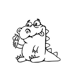 cute dinosaur with ice cream vector image vector image