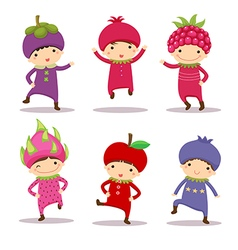 Cute kids in fruit costumes Set 2 vector image vector image