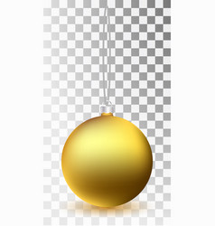 glass christmas gold toy on a transparent vector image vector image