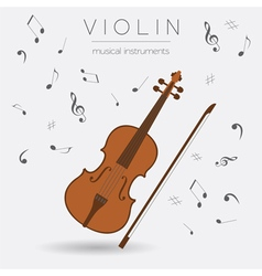 Musical instruments graphic template Violin vector image