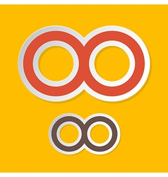 Paper Infinity Symbols on Yellow Background vector image vector image