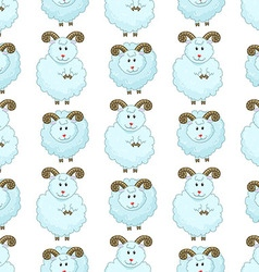 Seamless pattern with cartoon sheep vector image vector image