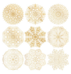 set of 9 hand-drawn arabic mandala on white vector image