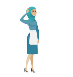 young muslim cleaner scratching her head vector image vector image