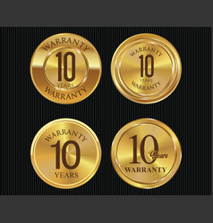 10 years warranty golden labels collection 3 vector