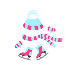 A hat with a fluffy pompon a scarf mittens vector