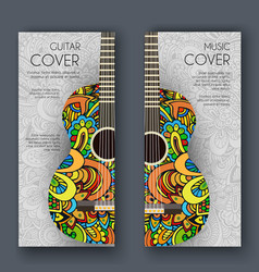 abstract retro music guitar on the banners of the vector image