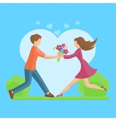 Affection Young couple flat style vector
