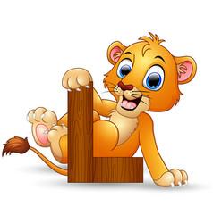 Alphabet l with lion cartoon vector