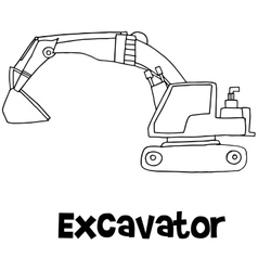 art of excavator hand draw vector image