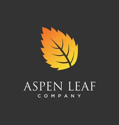 Aspen leaf logo minimalist luxurious vector