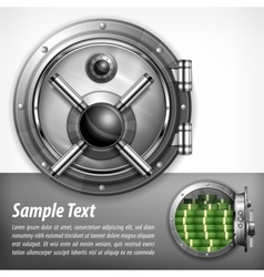 Bank vault on white text vector
