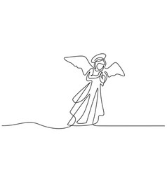 bible merry christmas angel woman one line drawing vector image