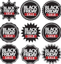 Black friday sale black signs set vector image