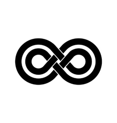 Black infinity crossed lines logo vector image