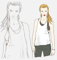 blonde fashion girl vector image