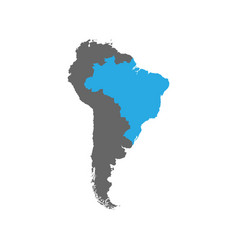 brazil is highlighted in blue on the south america vector image