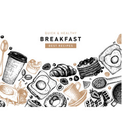 breakfast table top view frame in color morning vector image