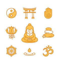 buddhist religious sacred symbols vector image