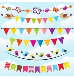 Bunting and garland set on sky vector