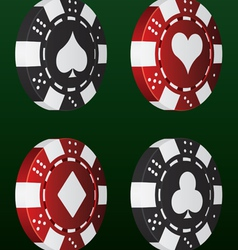 card suit poker chips vector image