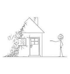Cartoon businessman or estate agent or broker vector
