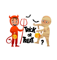 cartoon children devil and mummy costume trick or vector image