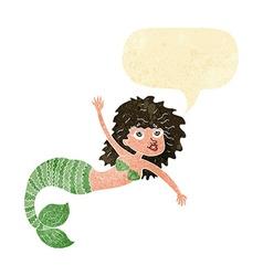 Cartoon pretty mermaid waving with speech bubble vector