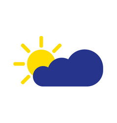 Cloud with sun symbol icon in flat style vector