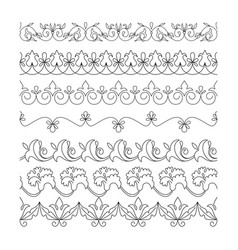 collection floral seamless border black line vector image