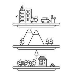 collection of linear city vector image