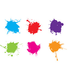 colorful paint splatterspaint splashes set vector image