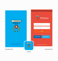 company hook splash screen and login page design vector image