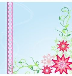 Corner flower blue background vector