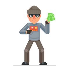 credit card stolen money evil greedily thief vector image