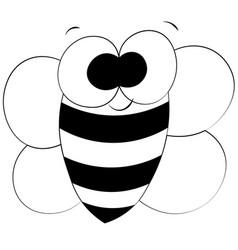 Cute cartoon bee draw in black vector