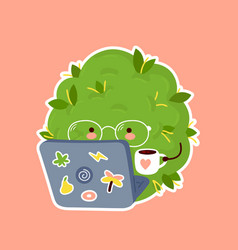 Cute weed marijuana bud work on notebook vector