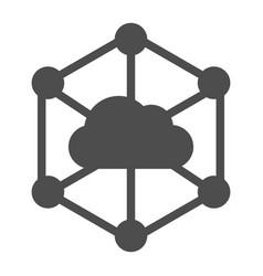 Data cloud solid icon computer storage vector