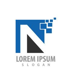 digital initial letter n logo concept design vector image