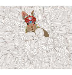 Easter rabbit flower sketch doodle background vector