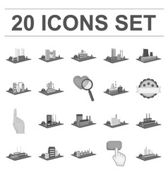 Factory and plant monochrome icons in set vector