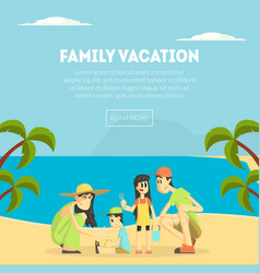 family vacation banner template happy parents and vector image