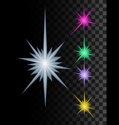 festive multicolored multipath stars set vector image