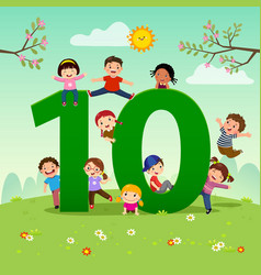 flashcard for learning to counting number 10 vector image